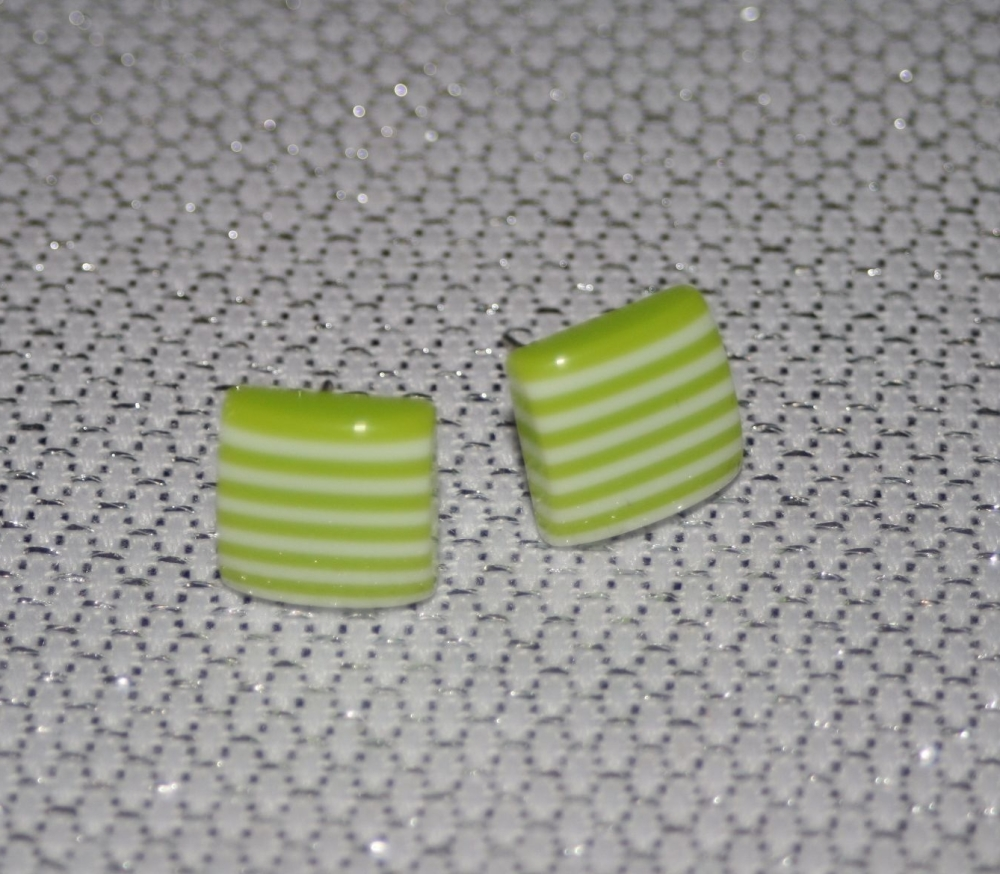 Green and White Striped Square Earring