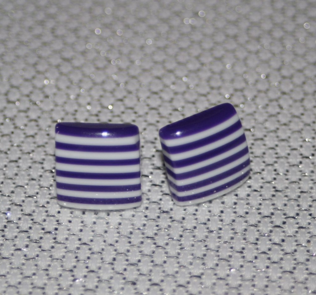 Purple and White Striped Square Earring