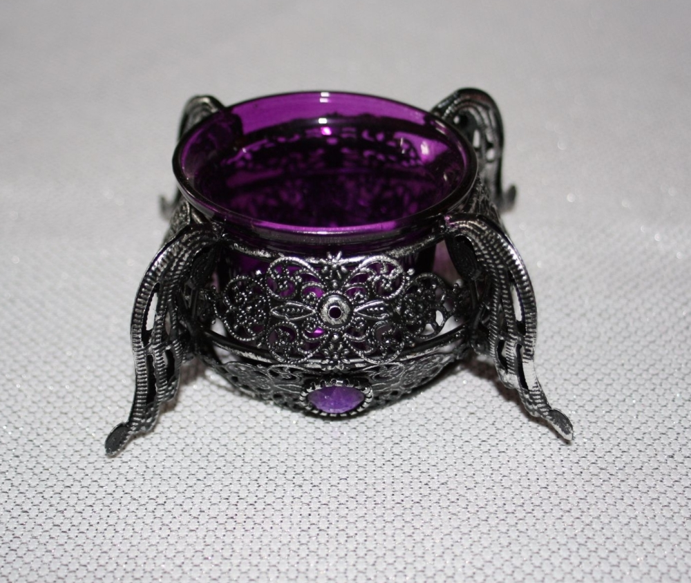 Black Metal Fretwork small cauldron purple glass tealight holder