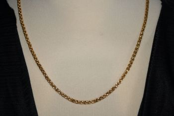 Gold Coloured Long Box Chain Necklace - unisex