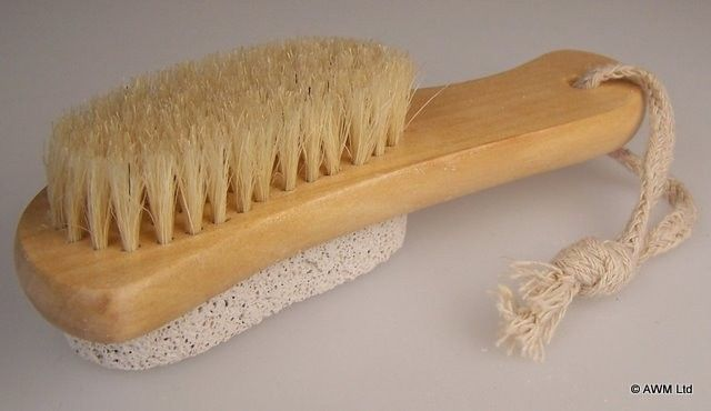 Pumice Backed Wooden Scrubbing Brush