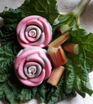 Rose shaped Rhubarb, Lemon and Ginger Soap