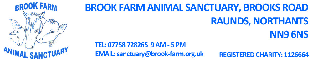 Welcome to Brook Farm Animal Sanctuary, site logo.