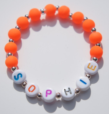 Personalised Orange Childrens Bracelet