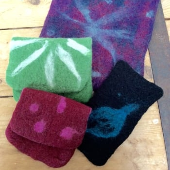Felted cases and purses.