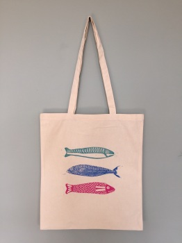 Lino printing tote bag