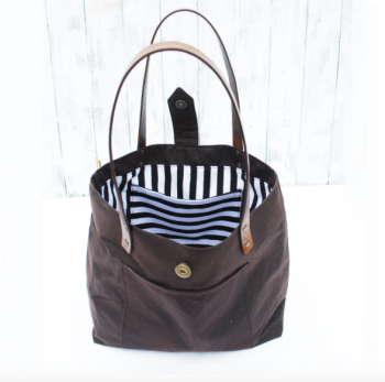 * NEW DATES * Wax Cotton Tote with leather Handles
