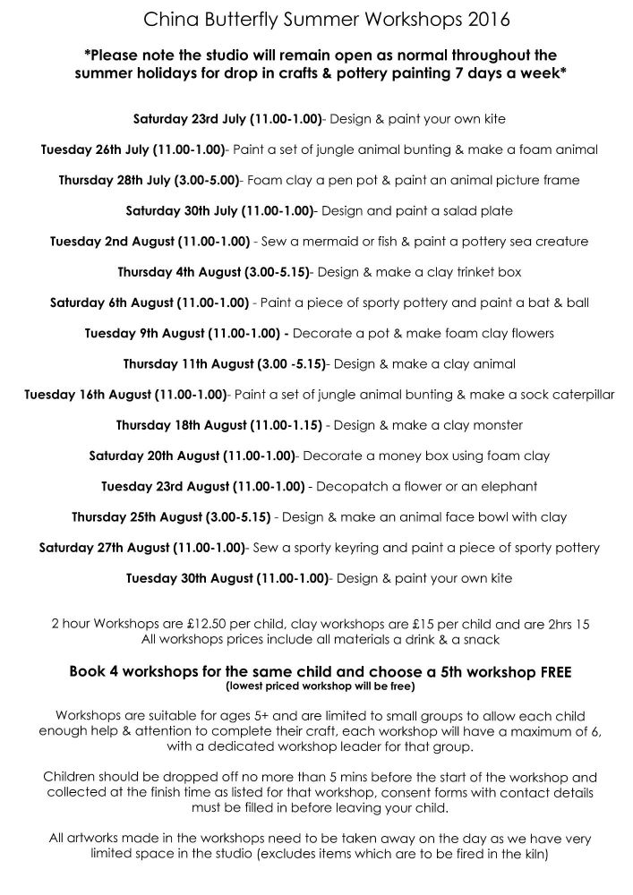 summer holiday workshops 2016 copy