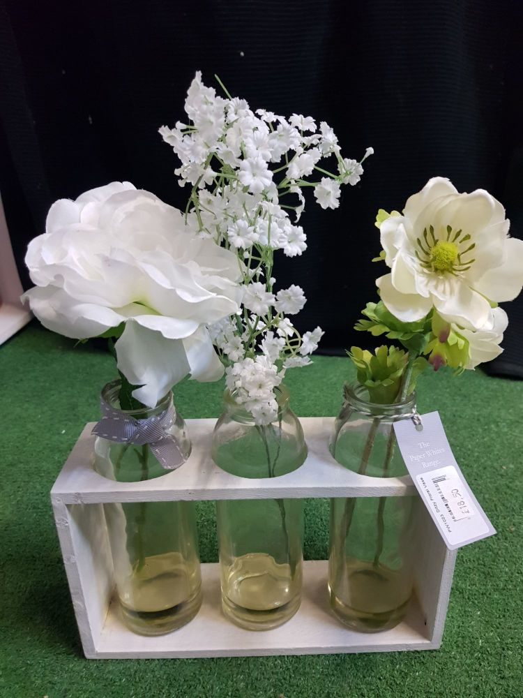 Flower trio in stand