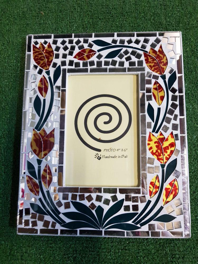 Red flower mosaic frame