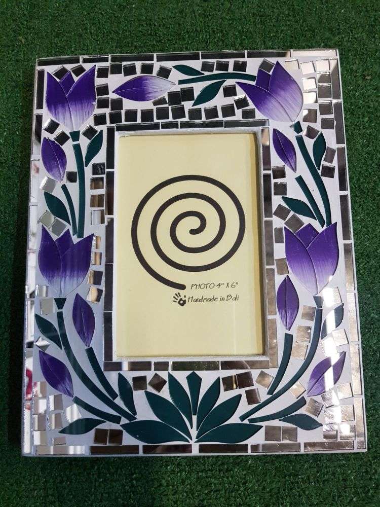 Purple flower mosaic picture frame