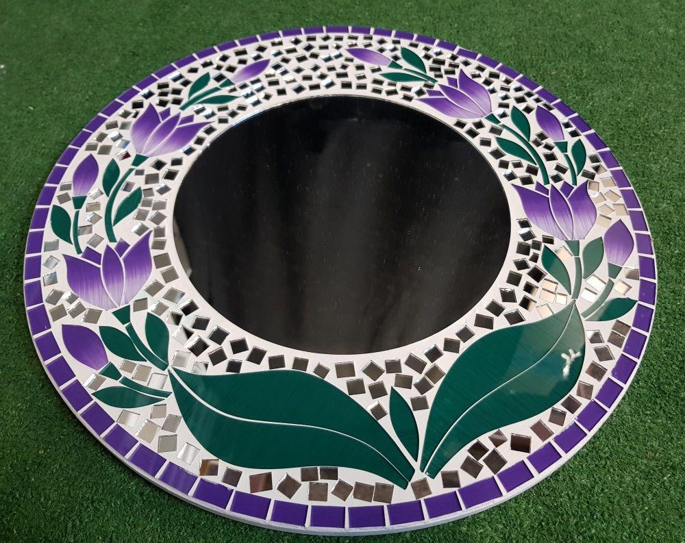 Mosaic purple flower wall mirror