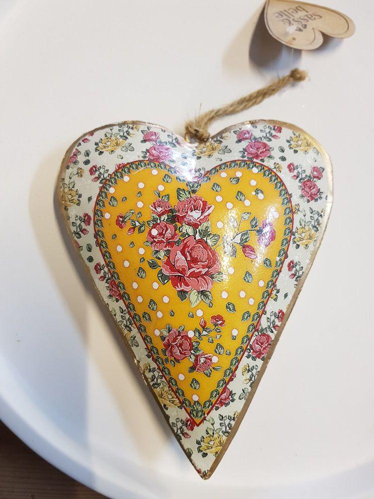 Large mustard hanging heart