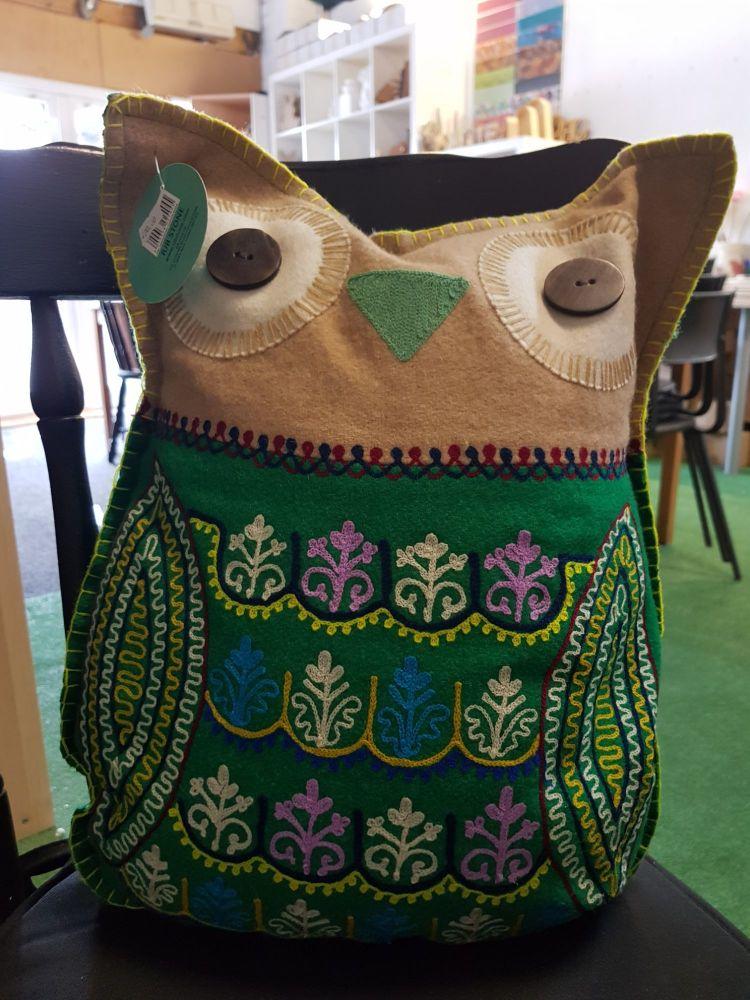 Embroidered owl felt cushion