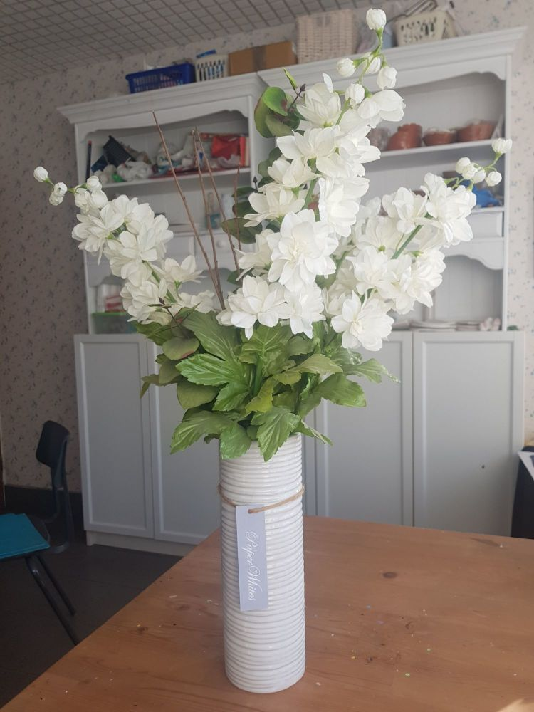 Tall white floral gift