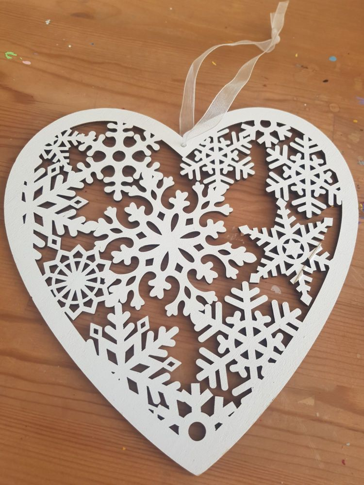 Large heart snowflake decoration