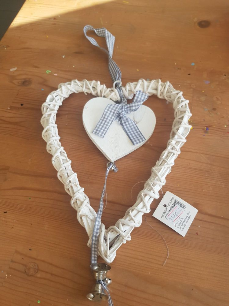 Wicker heart with bells