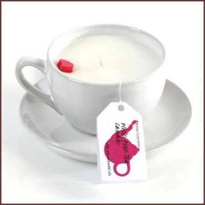 White Rose Teacup Candle