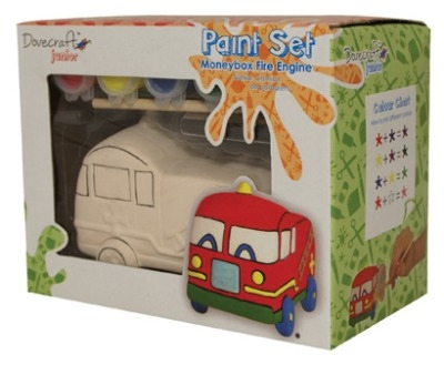 Pottery painting kit - Fire engine money bank