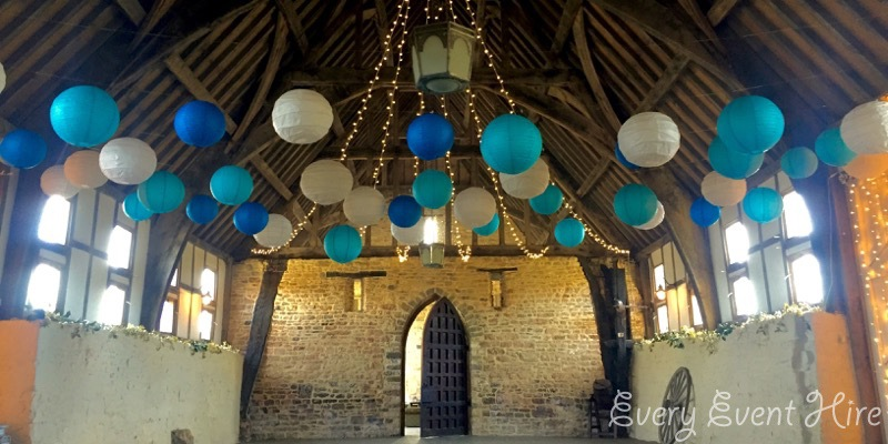 Brockworth Court Barn Hanging Lanterns in Blue and White