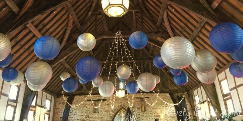 Brockworth Priors Tithe Barn Hanging Lanterns in Blue and Silver