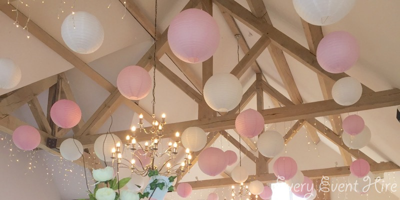 Hyde Barn Pink and White Hanging Lanterns