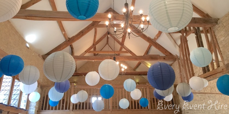 Kingscote Barn Hanging Lanterns, Blue, Grey and White
