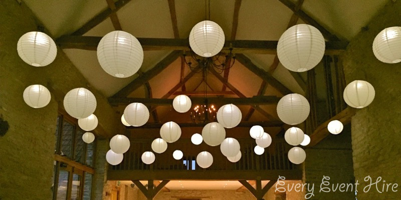 Kingscote Barn Hanging Lanterns, Ivory with Lighting