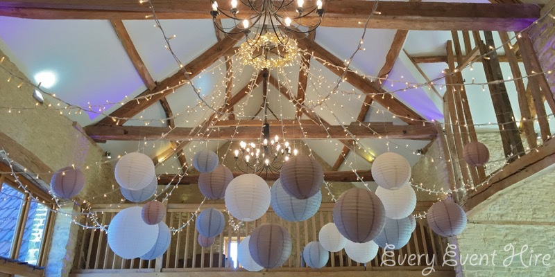 Kingscote Barn Hanging Lanterns, White, Latte and Dove Grey