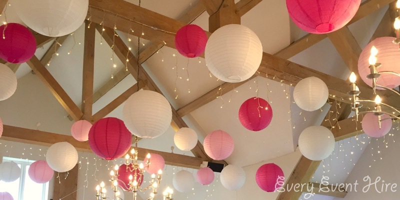 Hyde Barn Hanging Lanterns, Fuchsia, Pink and White