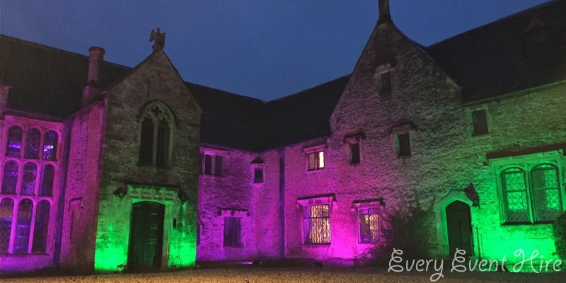 Chavenage House Illuminated in Pink and Green