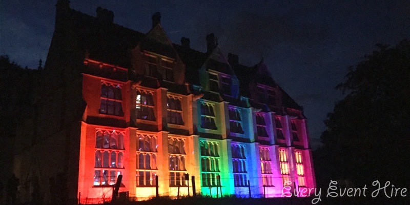 Woodchester Mansion Illuminated in Rainbow Colours