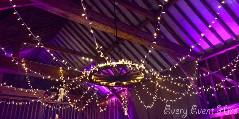 Over Barn Fairy Light Canopy with Uplighting