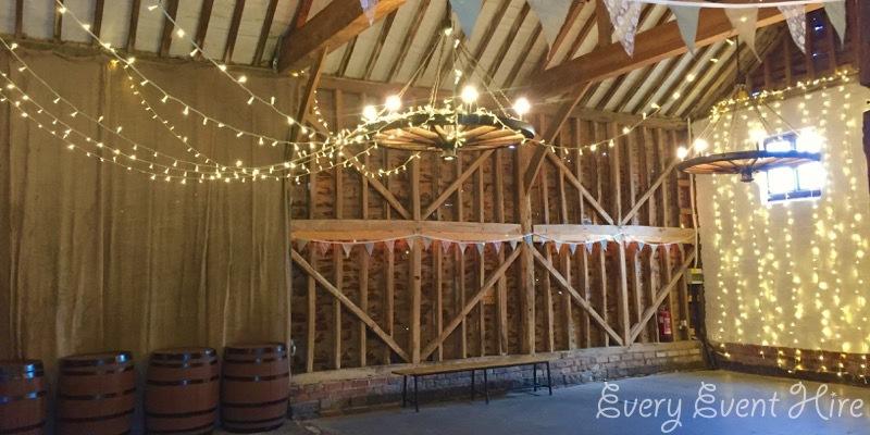 Over Barn Fairy Light Curtain and Canopy