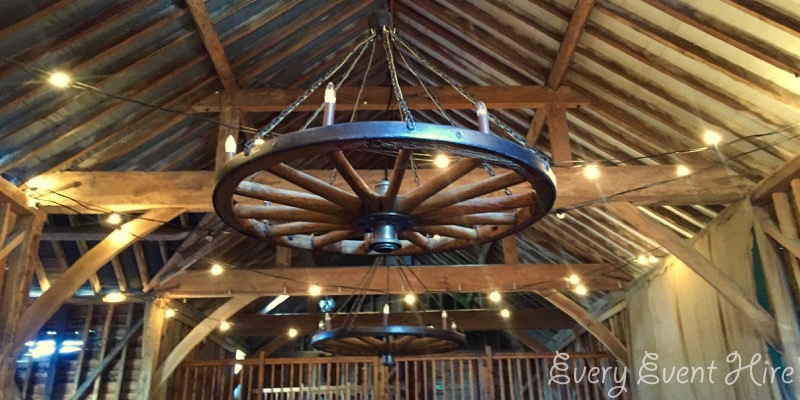 Festoon Lighting inside Over Barn