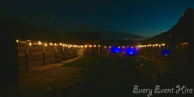 Over Barn Festoon Lighting for Wedding