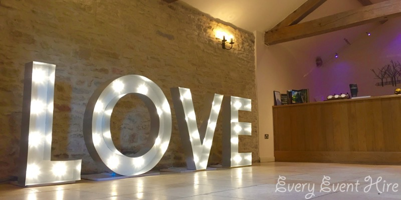 Illuminated LOVE Letters at Kingscote Barn