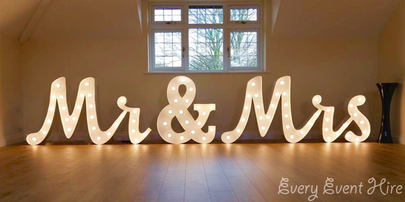 Illuminated Mr and Mrs Letters Gloucestershire