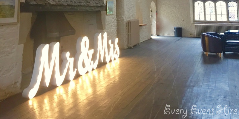 Mrs and Mrs Light-up Sign Hire in Gloucestershire