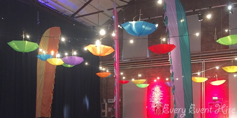 Coloured Hanging Umbrellas Swindon Corporate Event