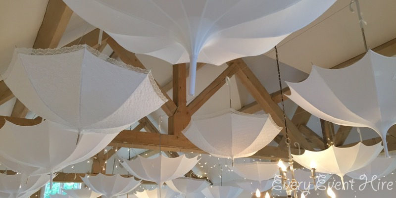 Hyde House White Wedding Umbrellas
