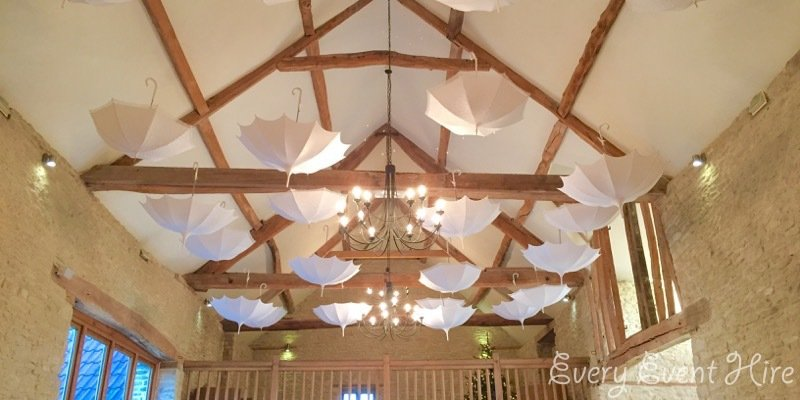 Kingscote Barn White Hanging Wedding Umbrellas
