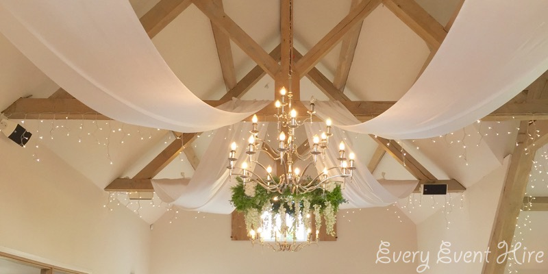 Ceiling Drapes and Floral Ring at Hyde Barn