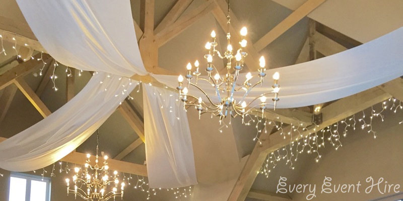 Hyde Barn White Wedding Ceiling Drapes