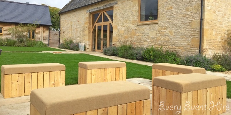 The Barn at Upcote Wooden Rustic Benches