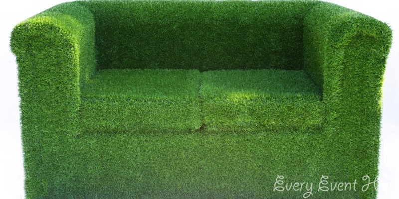 Artificial Grass Covered Sofa Hire Gloucestershire