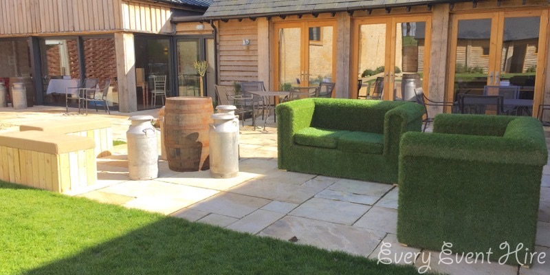Grass Covered Sofas at The Barn at Upcote