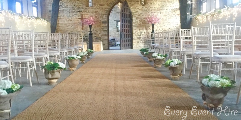 Rustic Wedding Aisle Brockworth Priors Barn