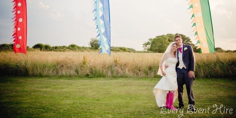 Wedding Couple with Flags
