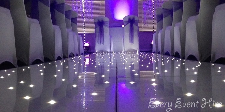 Gloucestershire Starlit Wedding Aisle with Purple Lighting